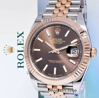 $ CDN18316.26 • Buy Rolex NEW Datejust 41 Chocolate Dial 18k Rose Gold Steel Watch Box/Papers 126331