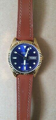 £35 • Buy Citizen Men's Automatic Day/Date Automatic Gold Plated. Blue Dial. Leather Watch