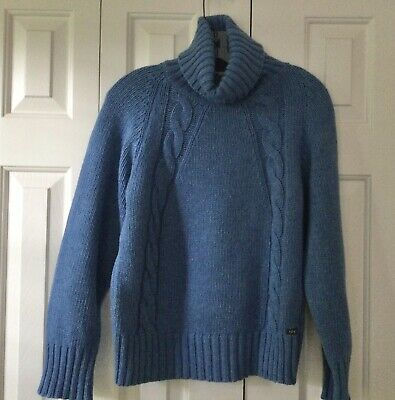 $69.99 • Buy Fisherman Out Of Ireland Cable Knit Turtleneck Sweater Size Large Muted Blue