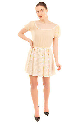 AU93.41 • Buy RRP €795 RED VALENTINO Silk & Lace A-Line Dress Size 40 / S Ruffle Puff Sleeve
