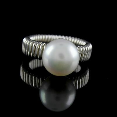 $ CDN44.05 • Buy QVC Honora White Cultured Pearl 11.0MM Button Sterling Flex Band Ring Size 9