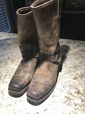 $35 • Buy FRYE 12R Harness Boots Dark Oiled Brown Leather Square Toe Mens 8.5
