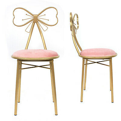 AU73 • Buy Gold Butterfly Backrest Chairs With Pink Velvet Cushion Dressing Table Stool New