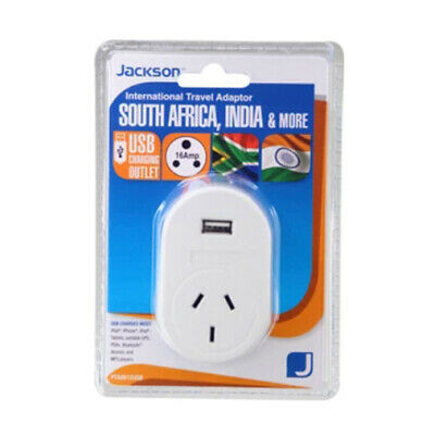 AU29 • Buy Jackson Outbound Travel Adaptor Large Pin AUS/NZ To South Africa/India W/ USB