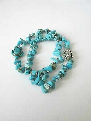 £3 • Buy 1pc. 2strand Natural Turquoise Chip Stretch Bracelet