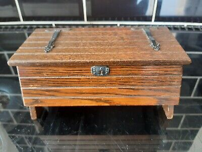 £15 • Buy Vintage  WOODEN MUSIC BOX Coffer Chest Shape Reuge Swiss Movement Not Working
