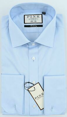 £39.99 • Buy THOMAS PINK Men's Frederick Double Cuff Slim Fit Shirt, Pale Blue Collar 16.5  R