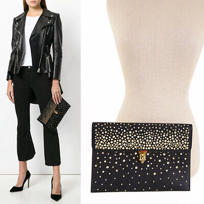 AU672.60 • Buy NEW $895 ALEXANDER MCQUEEN Leather GOLD STUDDED SKULL CLASP Envelope CLUTCH BAG