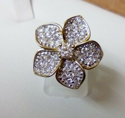 $ CDN32.54 • Buy QVC Diamonique Veronese Flower Cocktail Ring 18K Gold On Sterling Silver Size N