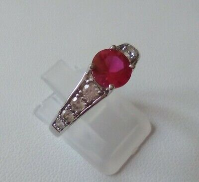 $ CDN27.70 • Buy Gorgeous QVC Diamonique Simulated Ruby Sterling Silver Ring Size S 3.06g