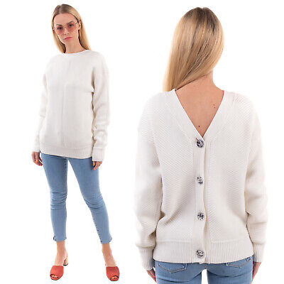 £33 • Buy RRP €470 VICTORIA VICTORIA BECKHAM Cardigan Size 3 / L Ribbed Knit Button Back