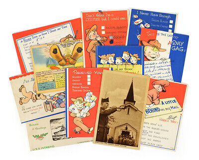 $14.99 • Buy 12 WWII US Military Soldiers Correspondence 1940s Vintage Post Cards Lot