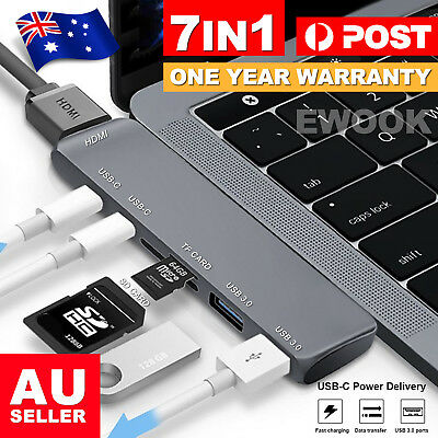 AU27.85 • Buy 7 In 1 USB-C Type C HD Output 4K HDMI USB 3.0 Adapter HUB For MacBook Pro