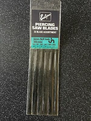 £10 • Buy Eclipse Piercing Saw Blades - Assorted Pack Of 30 M0, M1, M2, M3, M4 & M5 NOS