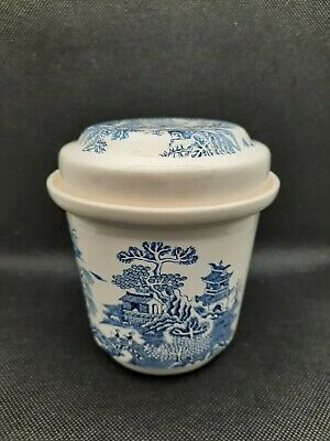 £3.99 • Buy Vintage MASON'S For Ringtons Tea - Willow Pattern Blue White Caddy Jar + Lid