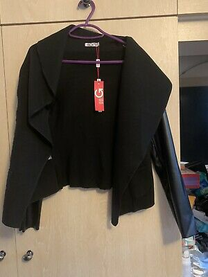 £10 • Buy Wal G Black Jacket With Leather Contrast Sleeves Size M BNWT