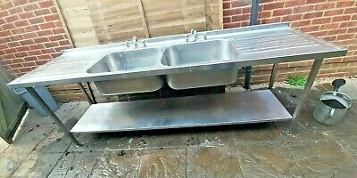 £250 • Buy Commercial Solid Stainless Steel Double-Bowl Sink+Splashback+Taps+Shelf+