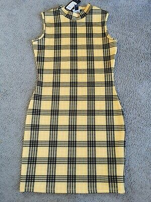 £3 • Buy Girls New Look Yellow Checked Dress Age 14-15 Years New With Tags