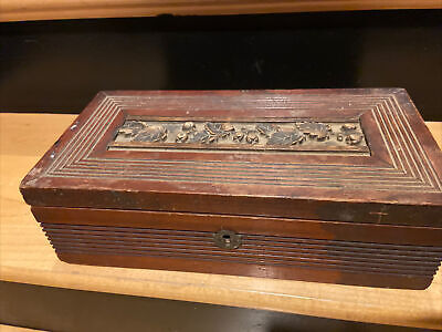 $ CDN86.86 • Buy Antique  Carved And Ornate Insert Wood Box  Original Finish & Sq. Nails