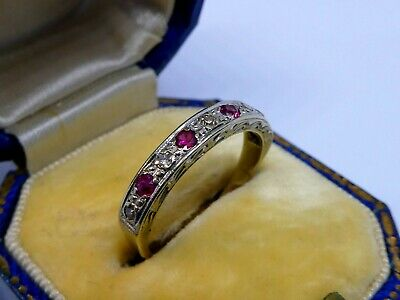 £119.95 • Buy A Beautiful Ladies 9ct White Gold Ruby & Diamond Half Eternity Ring Size L, 2.3g