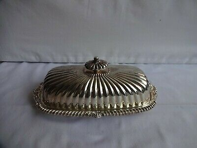 £24 • Buy Art Deco Style Viners Ribbed  Butter Preserve Dish Silver Plated Glass Liner