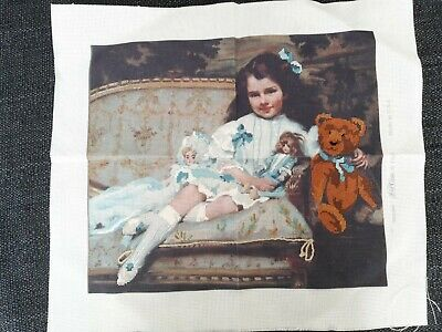 £12 • Buy Girl And Teddy Cross Stitch Painting Picture, Finished. Size 14  X 12