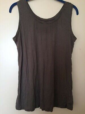 £12 • Buy Yong Kim Crinkle Sleeveless Khaki Short Top, Bust 36  Used Excellent Condition