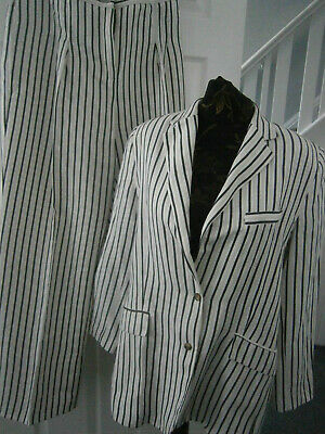 £20 • Buy Marks & Spencer Ladies White Grey Stripe Linen Trousers & Jacket Suit-size 16