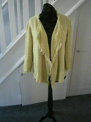 £7.50 • Buy Captain Tortue Ladies Lime Freyed Edge Waterfall Jacket-size T3 Size 14-16