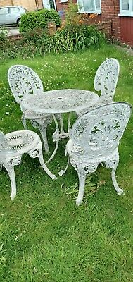 £185 • Buy VINTAGE ALUMINIUM CAST  GARDEN TABLE AND CHAIRS Delivery Available 50p Per Mile