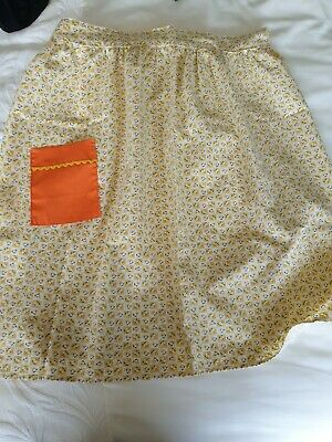 £6 • Buy Vintage Style Half Apron Pinny With Patch Pocket Yellow
