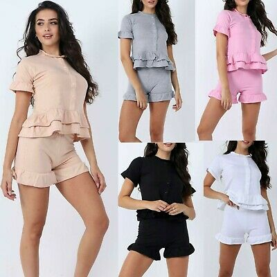 £13.99 • Buy Ladies Women's Button Up Peplum Frill Short Two Piece Co Ord Loungewear Sets