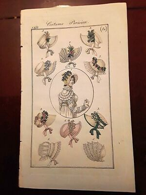 £17.98 • Buy Antique French Regency Period Fashion Print Of Bonnets Dated 1811