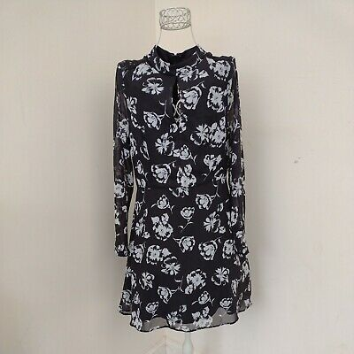 £8 • Buy Lipsy London Michelle Keegan Black And White Floral Long Sleeve Dress 14