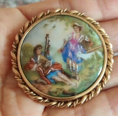 £22 • Buy Vintage Hand Painted Pretty Limoges Circular Brooch Gold Tone Frame