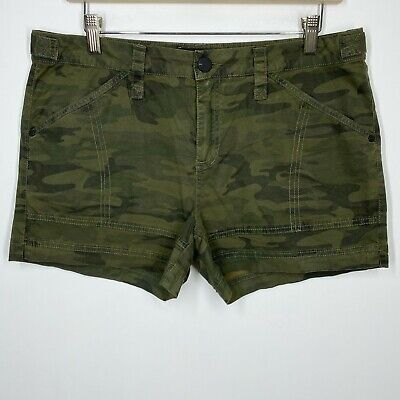 £13.17 • Buy Sanctuary Size 29 Green Camo Shorts Mid Rise Casual Stretchy Cotton Pockets