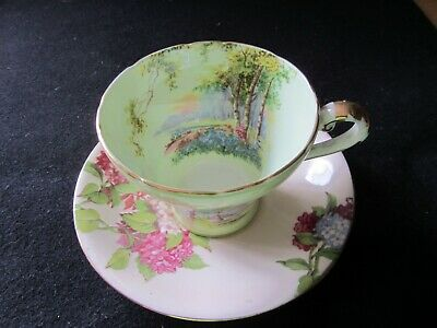 £7.50 • Buy Aynsley Bone China Corset Shape Cup And Saucer - Hydrangea And Trees