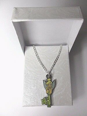 £18.95 • Buy Double Sided Disney World Tinkerbell Key Pendant On Fine Silver Plated Necklace