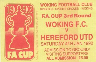 £2 • Buy Ticket - Woking V Hereford United 04.01.92 FA Cup