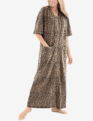 £21.70 • Buy Dreams & Co. Plus Size Classic Leopard Short Sleeves Long Zip-Front Robe Size 3X