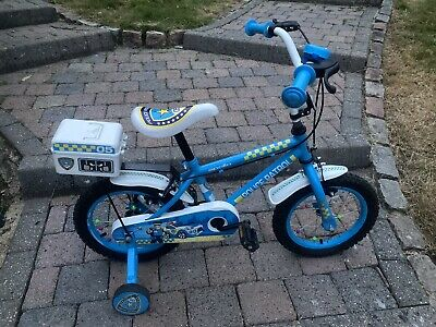 £25 • Buy Kids Childs Halfords Apollo Police Patrol Bike 14'' Inch Wheels With Stabilisers