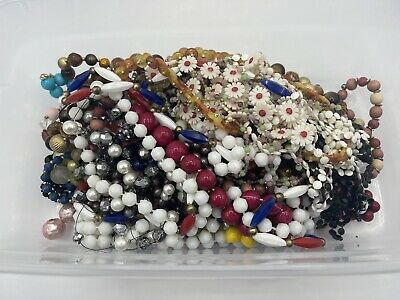 $ CDN6.28 • Buy Vintage Estate Find Jewelry Bead Lot Junk Drawer Craft Some Wearable 2+ Lbs