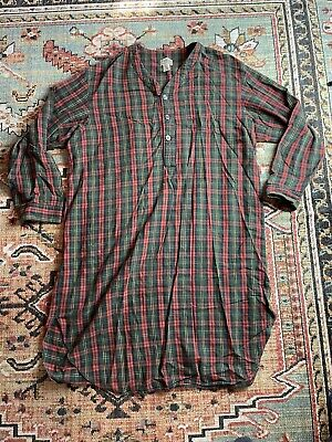 $37.50 • Buy Vintage L.L. Bean Red Olive Green COTTON Plaid Flannel Sleep Night Gown Mens XL