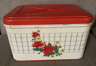 $55 • Buy Antique Retro 50's Tin Metal Bread Box Floral Red Hinged Lid Vent VTG Farmhouse
