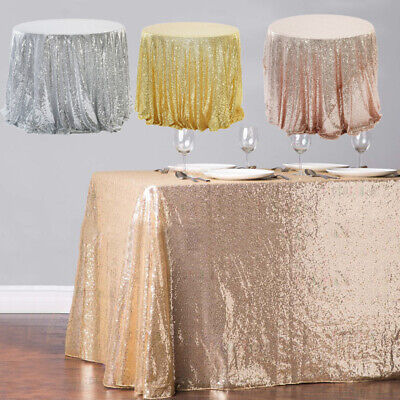 AU13.09 • Buy Sequin Table Cover Cloth Square Wedding Banquet Party Dining Tablecloth Decor