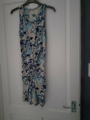 £8 • Buy Wal G Blue And Cream Knot Front Dress M Size 10 New