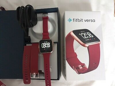 $ CDN104.14 • Buy Fitbit Versa ,Rose Gold Aluminum Case Ruby Band And New Slim Ruby Band