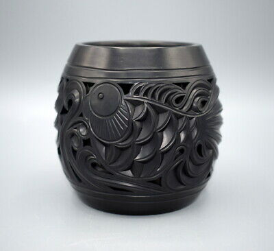 £25 • Buy Chinese Black Clay Porcelain Vase / Pot With Handcarved Fishes Seal Mark