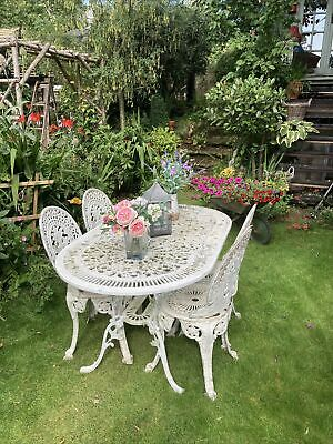 £72 • Buy Used Garden Cast Large Oval Table And Chairs 99p No Reserve