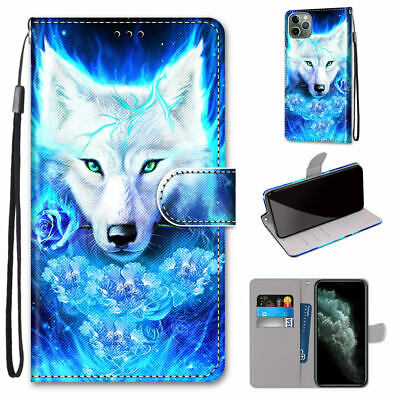 $ CDN6.28 • Buy Wolf Cool Animal 3D Painted Hot Flip Wallet Bracket Case Cover For Various Phone